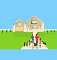 family parents will be living in a new house vector image