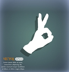 Gesture ok icon On the blue-green abstract vector image