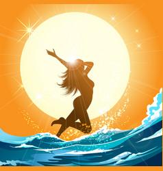 girl running on beach vector image