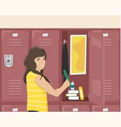 Girl schoolgirl about school locker vector