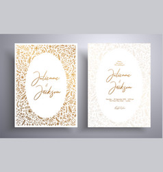 golden wedding invitation with hand drawn twigs vector image