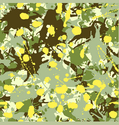 Green shades yellow beige camouflage ink paint vector