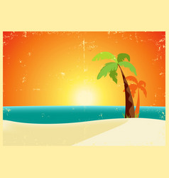 Grunge tropical beach poster vector