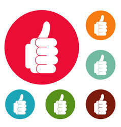 hand approval icons circle set vector image