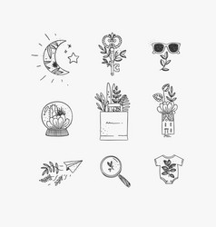 hand made floral icons nature vector image