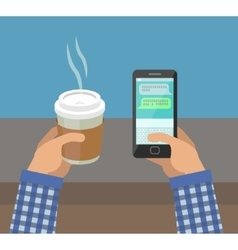 Hands with Cup Of Coffee and Phone vector