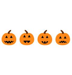 Happy halloween pumpkin set line funny creepy vector