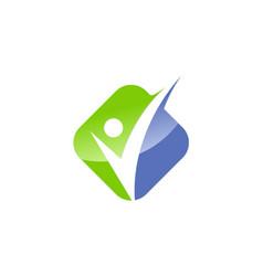 Happy man icon check logo vector