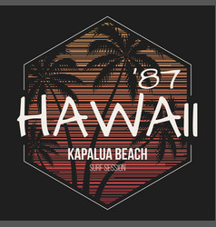 Hawaii kapalua beach tee print with palm trees vector