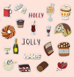 holly jolly hand drawn set of festive stickers vector image