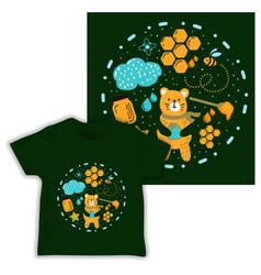 honey bear seamless pattern print shirt fabric vector image