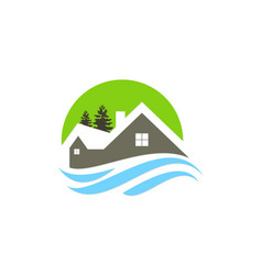 house cottage mountain logo vector image