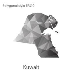 Isolated icon kuwait map polygonal geometric vector