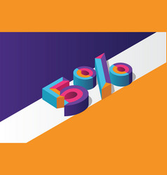 Isometric 5 percent off 3d sale background vector