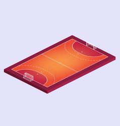 isometric field for handball orange outline of vector image