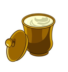 Jug with lid with sour cream vector image