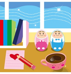 Kids desk vector