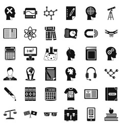 knowledge icons set simple style vector image
