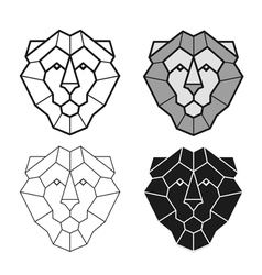 lion geometric head set vector image