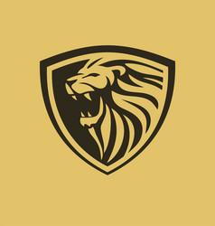 lion shield design vector image