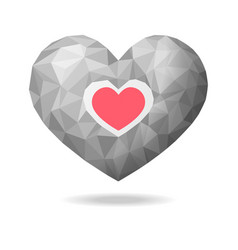 low poly heart abstract vector image