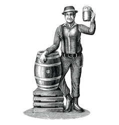 man standing next to an oak barrel with a vector image