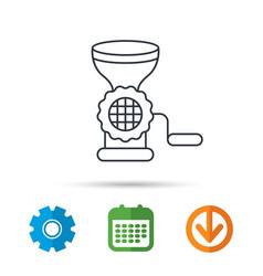 meat grinder icon manual mincer sign vector image