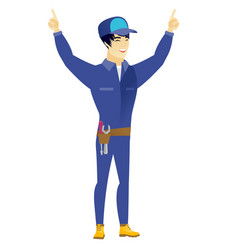 Mechanic standing with raised arms up vector