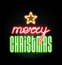 merry christmas with star icon luminous neon vector image