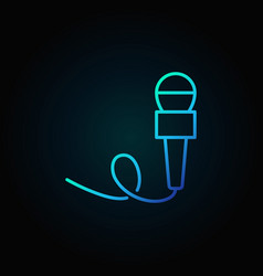 Microphone blue line icon - concept symbol vector