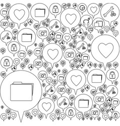 monochrome pattern formed by dialogue social icons vector image