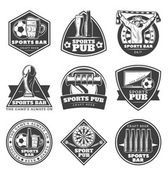 monochrome vintage sport bar labels set vector image vector image