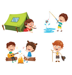 of kids camping vector image