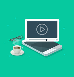 Online video webinar watching on mobile phone vector