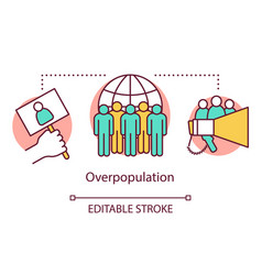 Overpopulation concept icon overcrowding increase vector