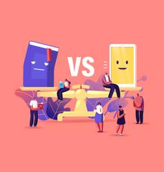 Paper book vs e-book concept tiny male or female vector