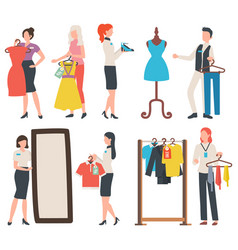 People buying clothes shopper and seller vector