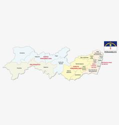 Pernambuco administrative map with flag vector