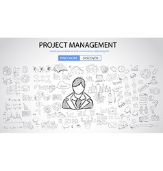 Project Management concept with Doodle design vector image