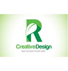 R green leaf letter design logo eco bio leaf vector