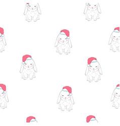 rabbits wearing santas hats cute seamless pattern vector image