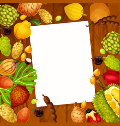 Recipe note with exotic fruits design vector