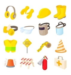Safety icons set cartoon style vector image