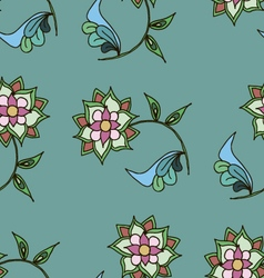 Seamless patterngreen colorshand drawn flowers vector