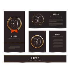 Set of 60th happy anniversary cards template vector