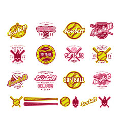 Set of baseball and softball badges vector