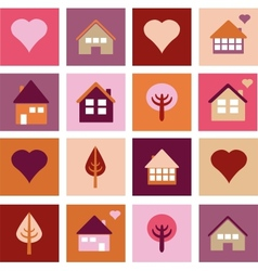set of different houses and trees vector image