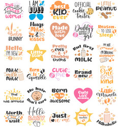 Set prints baborn and birthday party vector