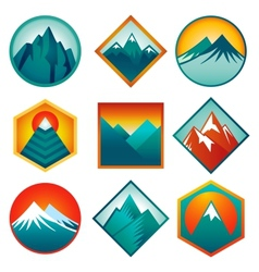set with abstract logos - mountains vector image