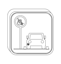Silhouette button disabled park area vector